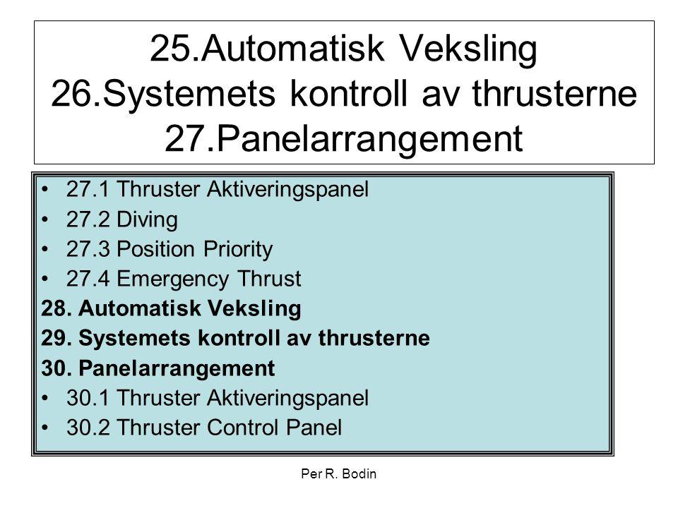 25. Automatisk Veksling 26. Systemets kontroll av thrusterne 27