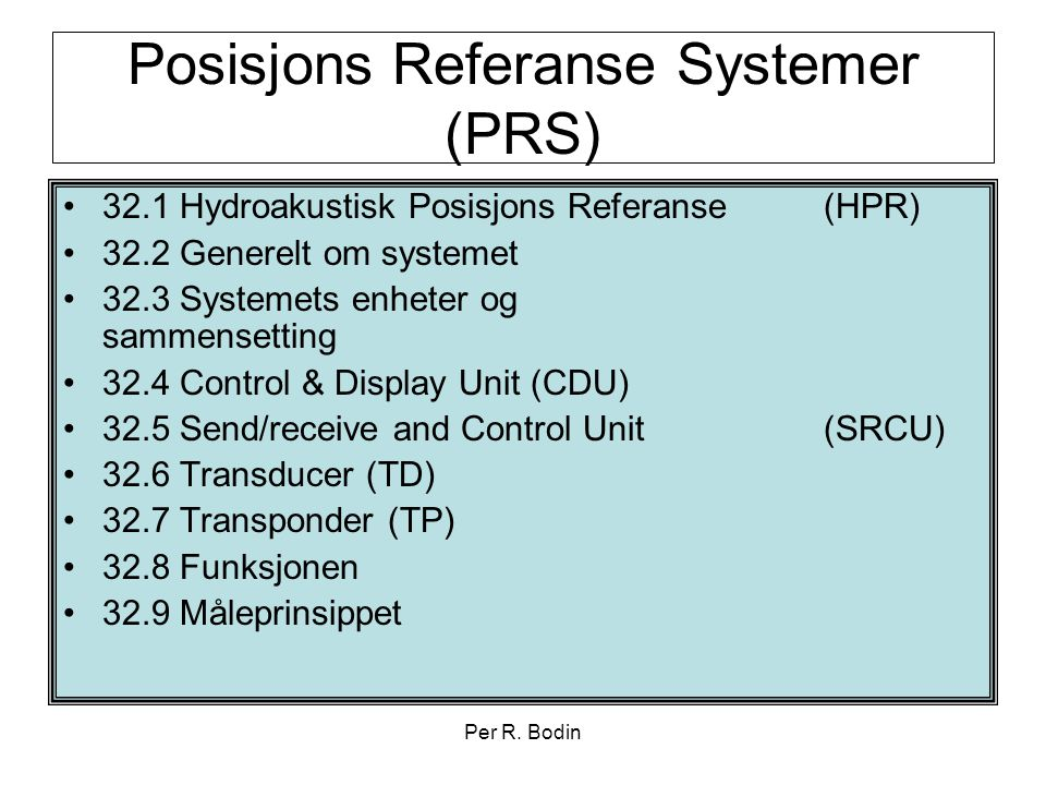 Posisjons Referanse Systemer (PRS)