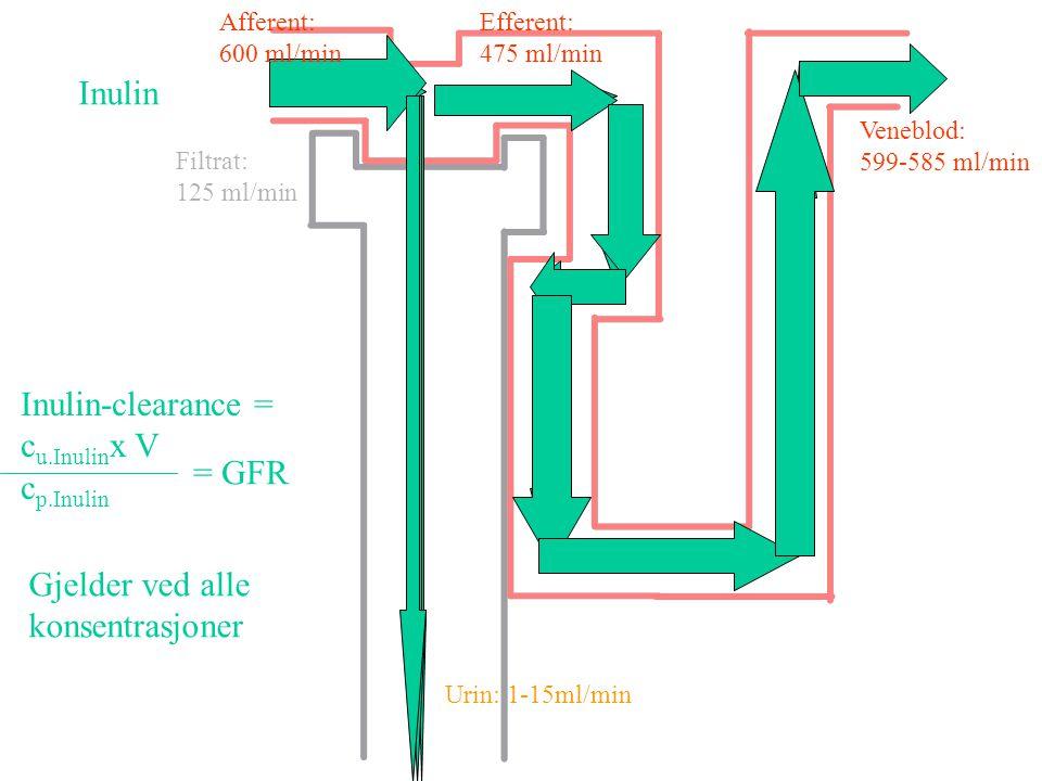 Inulin Inulin-clearance = cu.Inulinx V cp.Inulin = GFR