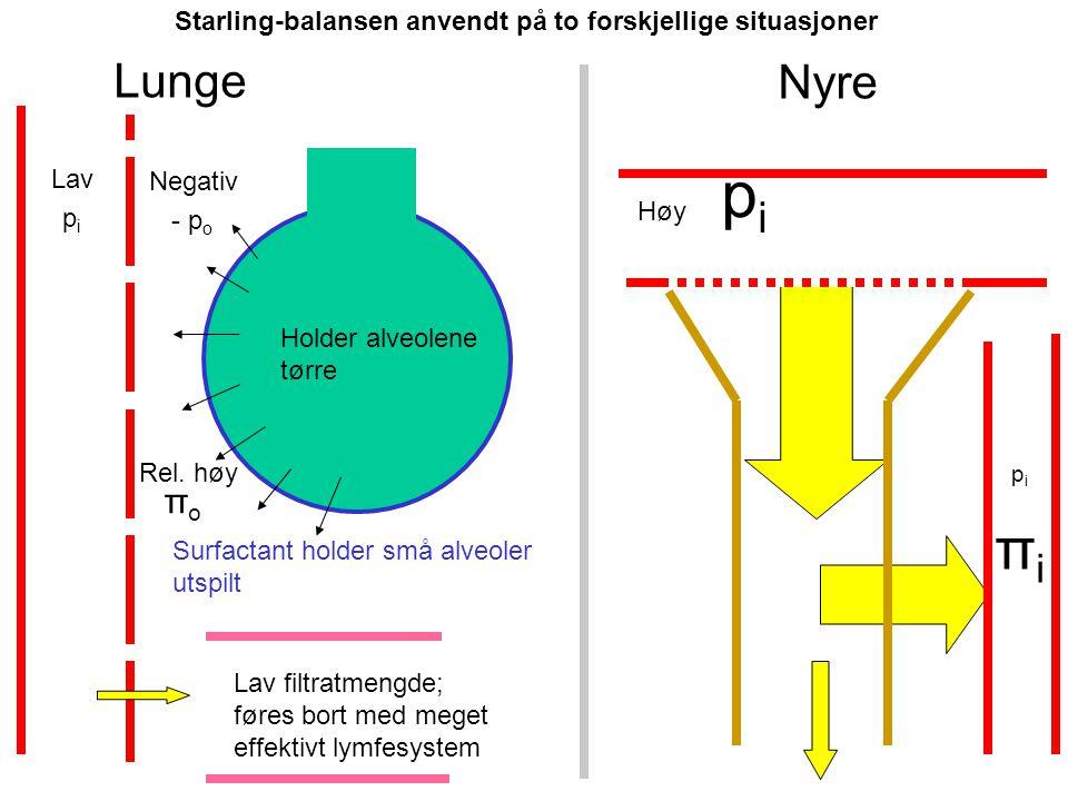 Starling-balansen anvendt på to forskjellige situasjoner