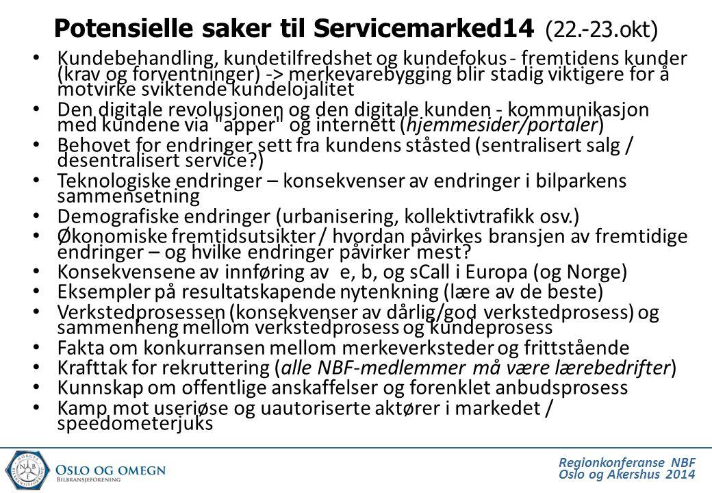 Potensielle saker til Servicemarked14 (22.-23.okt)