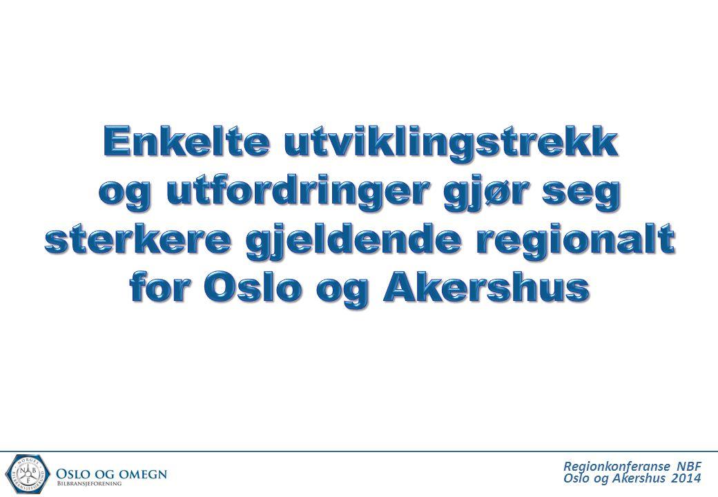 Enkelte utviklingstrekk og utfordringer gjør seg sterkere gjeldende regionalt for Oslo og Akershus