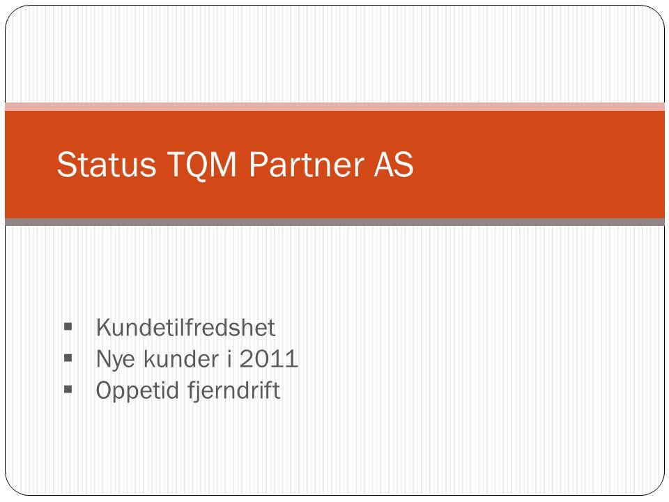 Status TQM Partner AS Kundetilfredshet Nye kunder i 2011