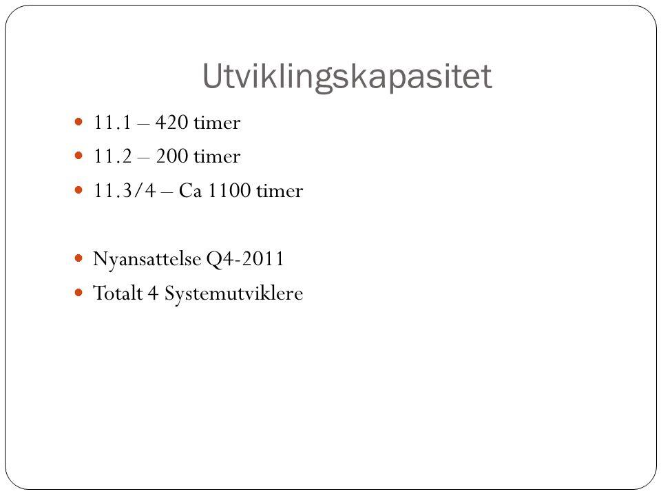 Utviklingskapasitet 11.1 – 420 timer 11.2 – 200 timer