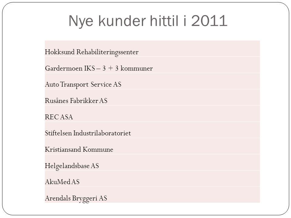 Nye kunder hittil i 2011 Hokksund Rehabiliteringssenter
