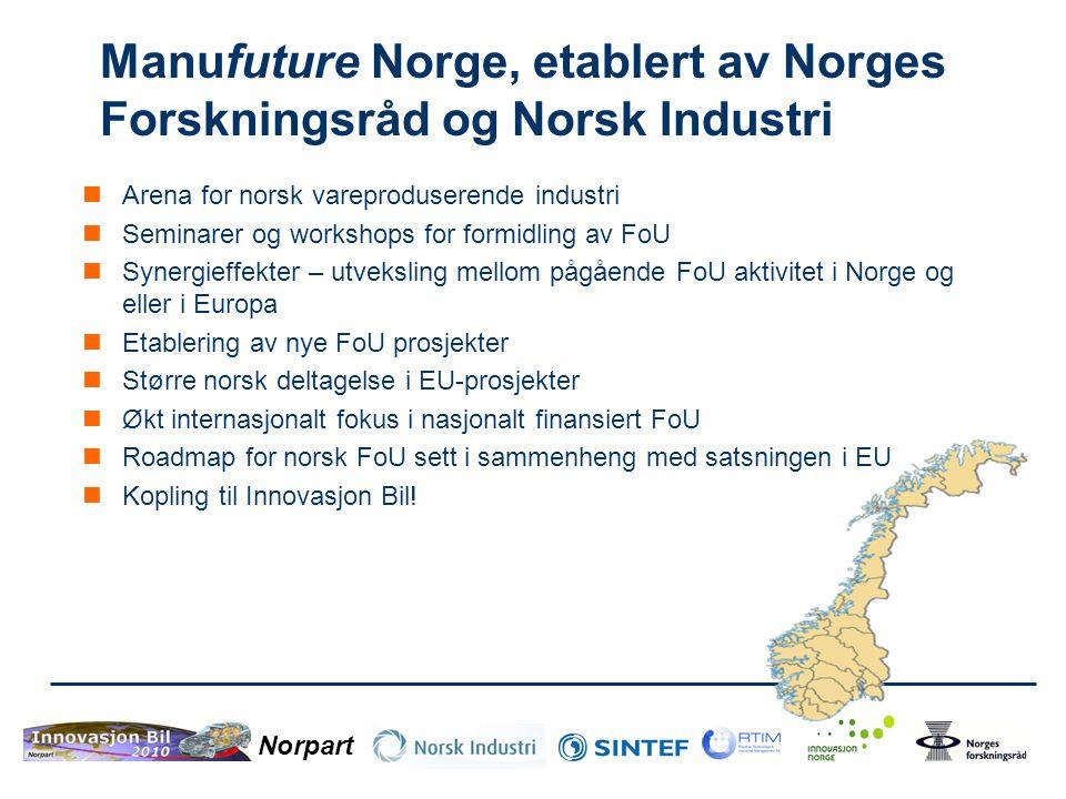 Manufuture Norge, etablert av Norges Forskningsråd og Norsk Industri