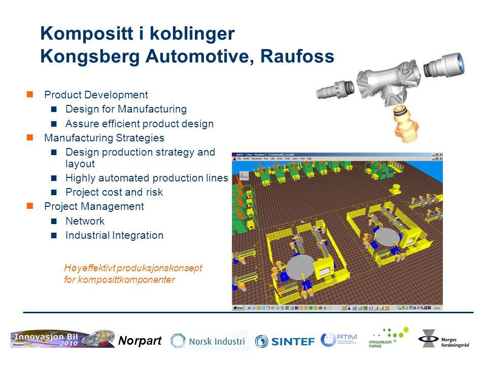Kompositt i koblinger Kongsberg Automotive, Raufoss