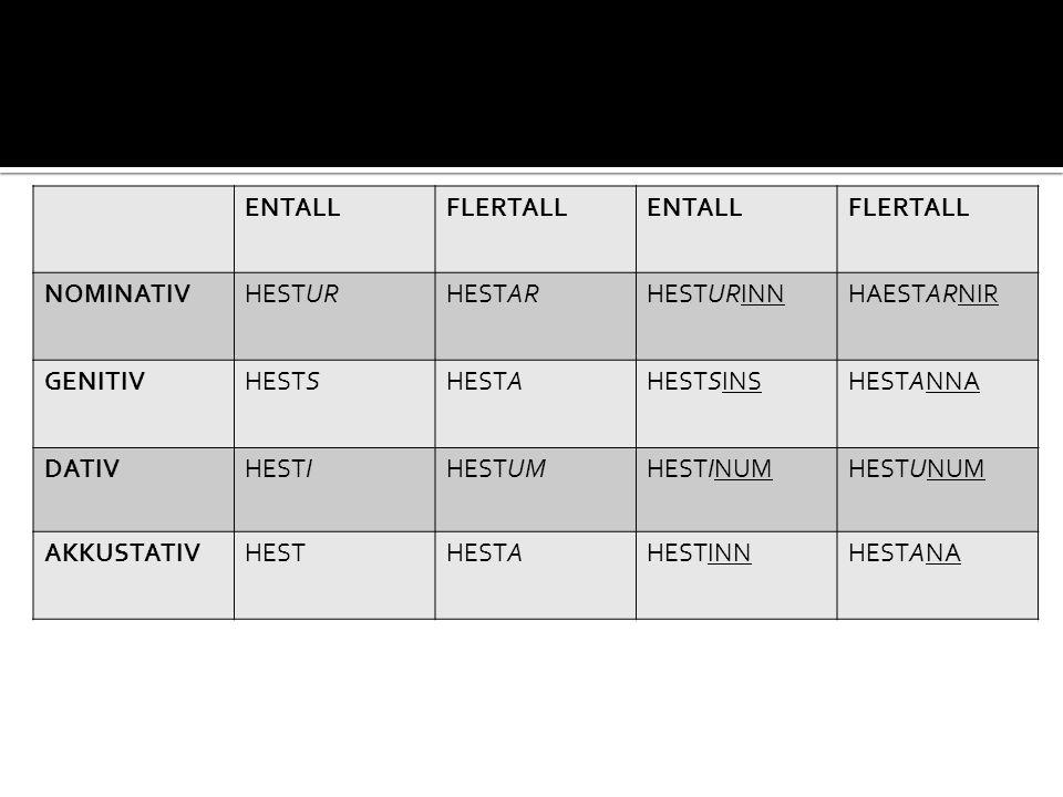 ENTALL FLERTALL. NOMINATIV. HESTUR. HESTAR. HESTURINN. HAESTARNIR. GENITIV. HESTS. HESTA. HESTSINS.