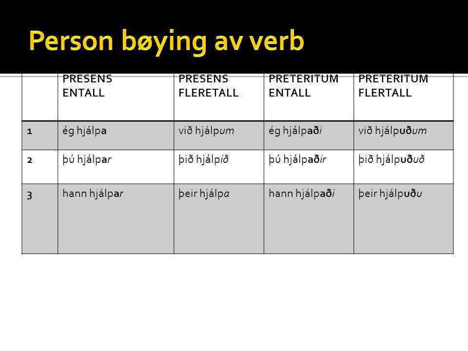 Person bøying av verb PRESENS ENTALL FLERETALL PRETERITUM FLERTALL 1