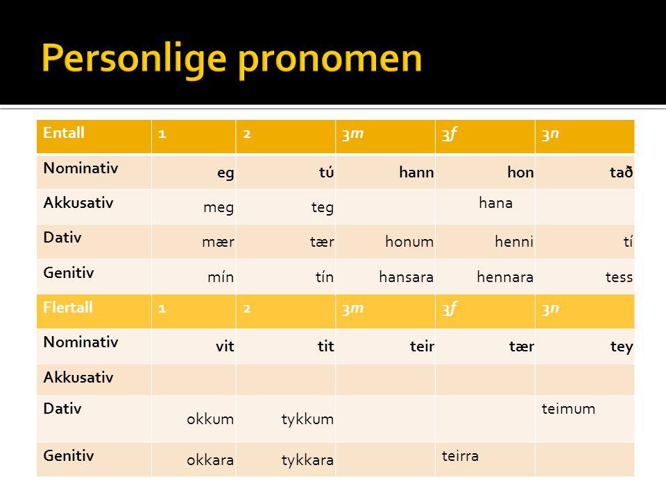 Personlige pronomen Entall 1 2 3m 3f 3n Nominativ eg tú hann hon tað
