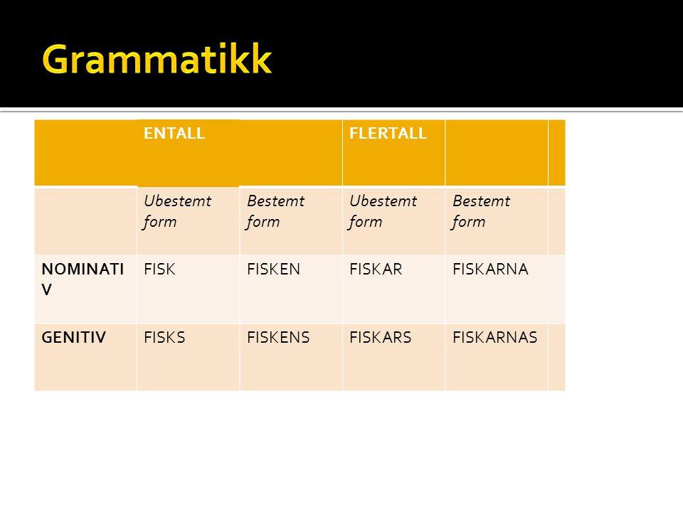 Grammatikk ENTALL FLERTALL Ubestemt form Bestemt form NOMINATIV FISK