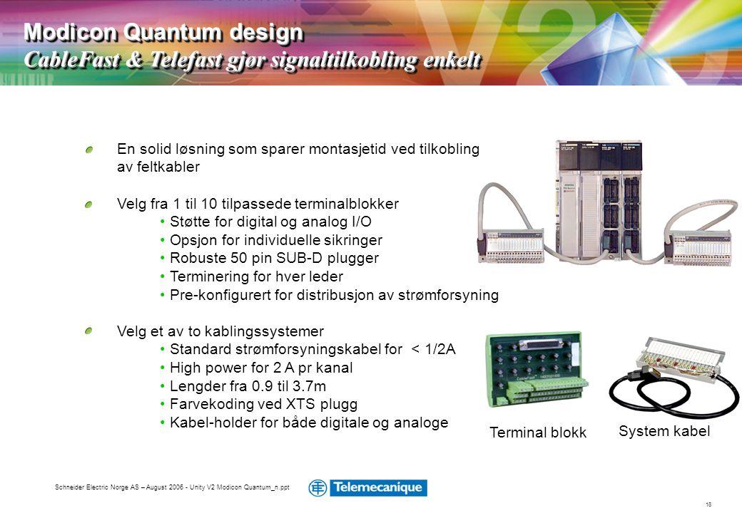 Modicon Quantum design CableFast & Telefast gjør signaltilkobling enkelt