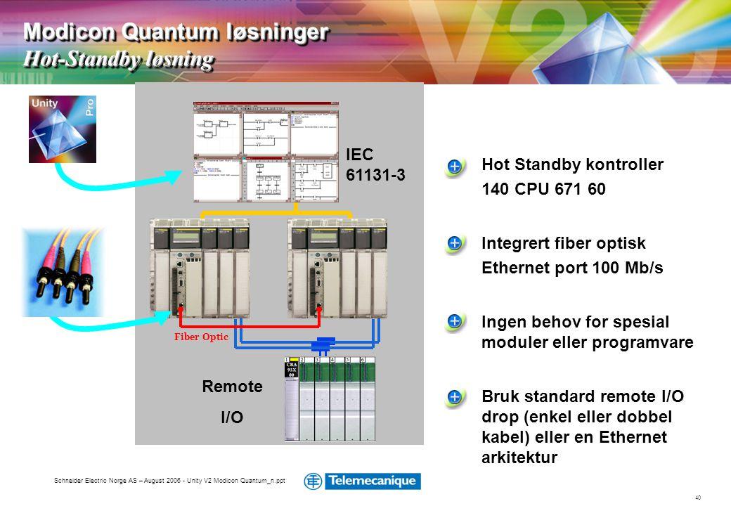 Modicon Quantum løsninger Hot-Standby løsning