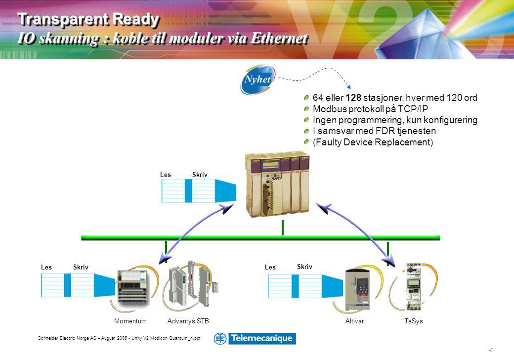 Transparent Ready IO skanning : koble til moduler via Ethernet