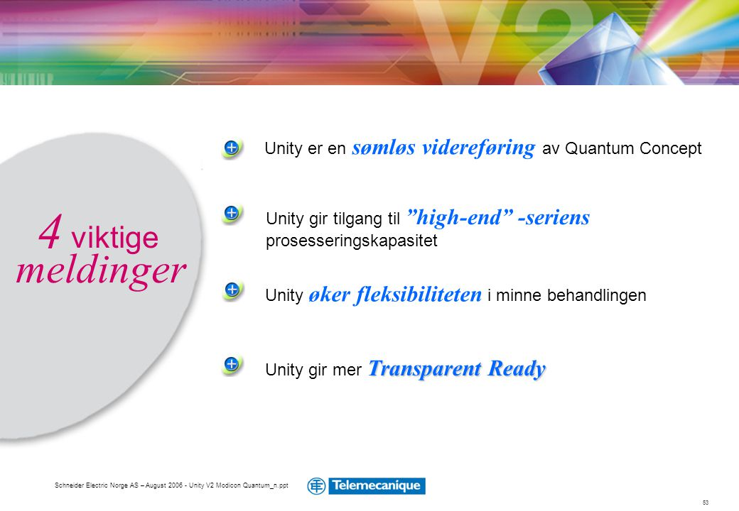 4 viktige meldinger Unity er en sømløs videreføring av Quantum Concept