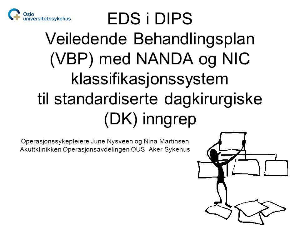 EDS i DIPS Veiledende Behandlingsplan (VBP) med NANDA og NIC klassifikasjonssystem til standardiserte dagkirurgiske (DK) inngrep