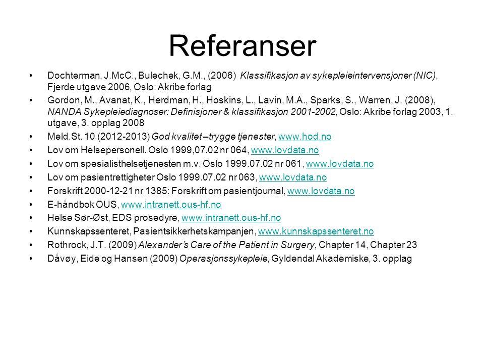Referanser Dochterman, J.McC., Bulechek, G.M., (2006) Klassifikasjon av sykepleieintervensjoner (NIC), Fjerde utgave 2006, Oslo: Akribe forlag.