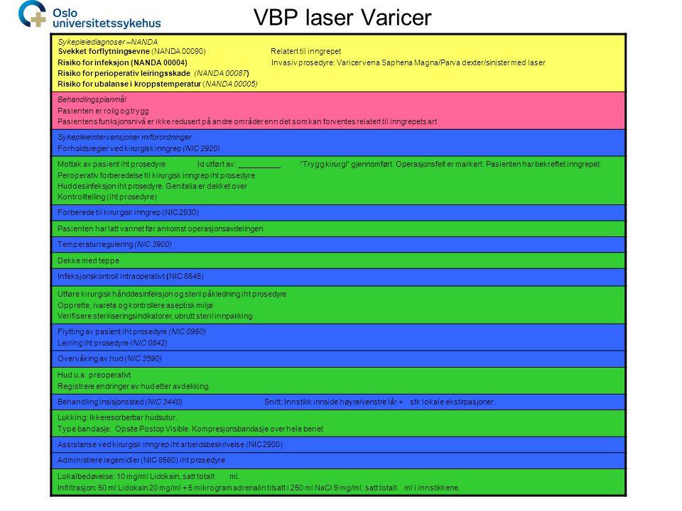 VBP laser Varicer Sykepleiediagnoser –NANDA