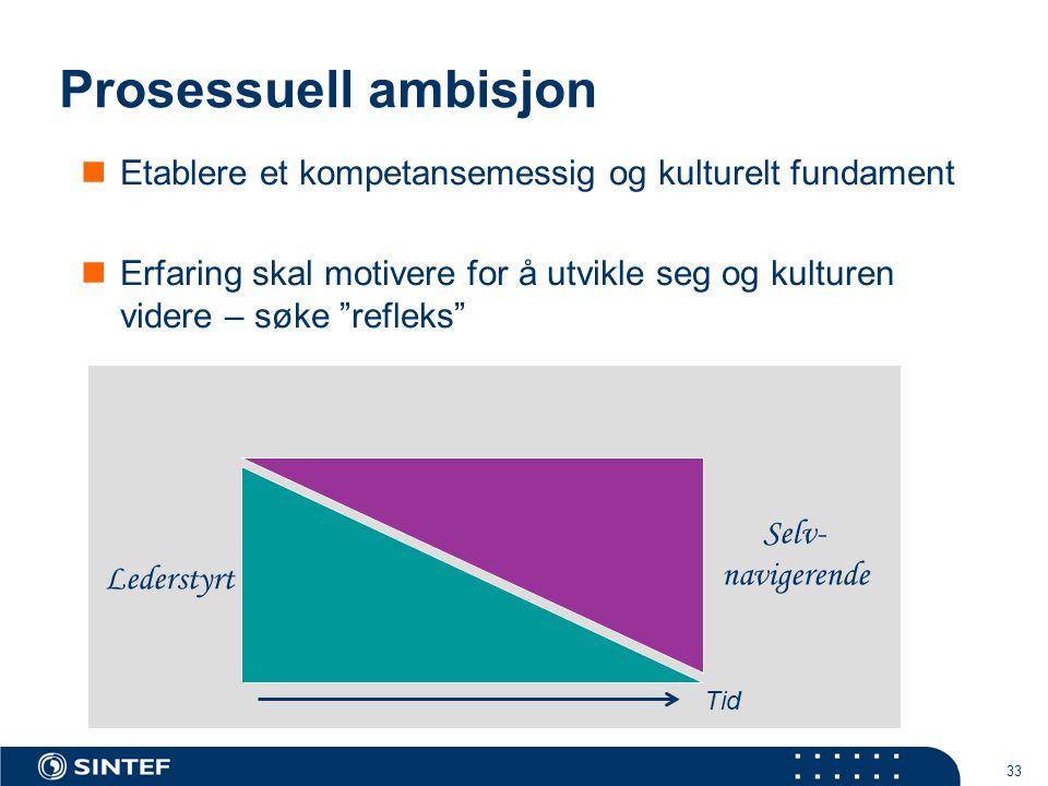 Prosessuell ambisjon Etablere et kompetansemessig og kulturelt fundament.