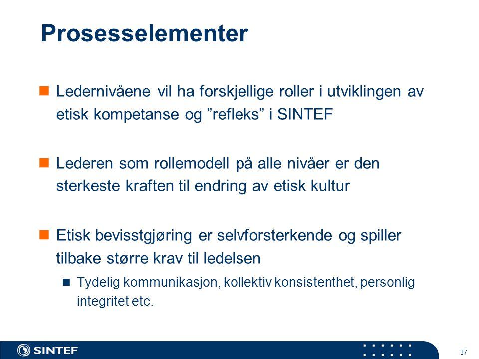 Prosesselementer Ledernivåene vil ha forskjellige roller i utviklingen av etisk kompetanse og refleks i SINTEF.