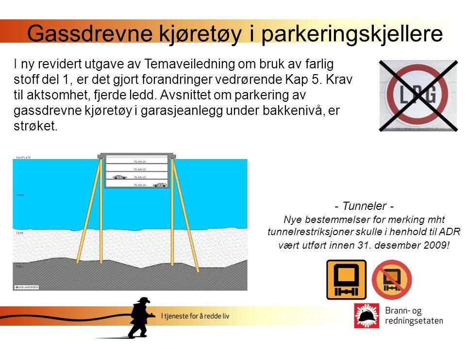 Gassdrevne kjøretøy i parkeringskjellere