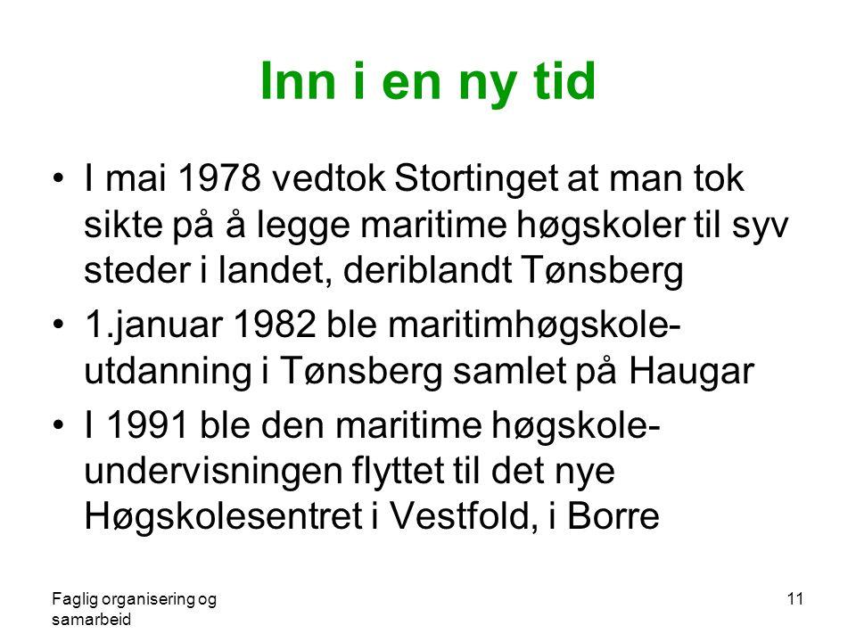 Inn i en ny tid I mai 1978 vedtok Stortinget at man tok sikte på å legge maritime høgskoler til syv steder i landet, deriblandt Tønsberg.