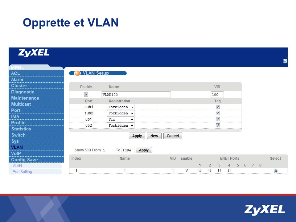 Opprette et VLAN