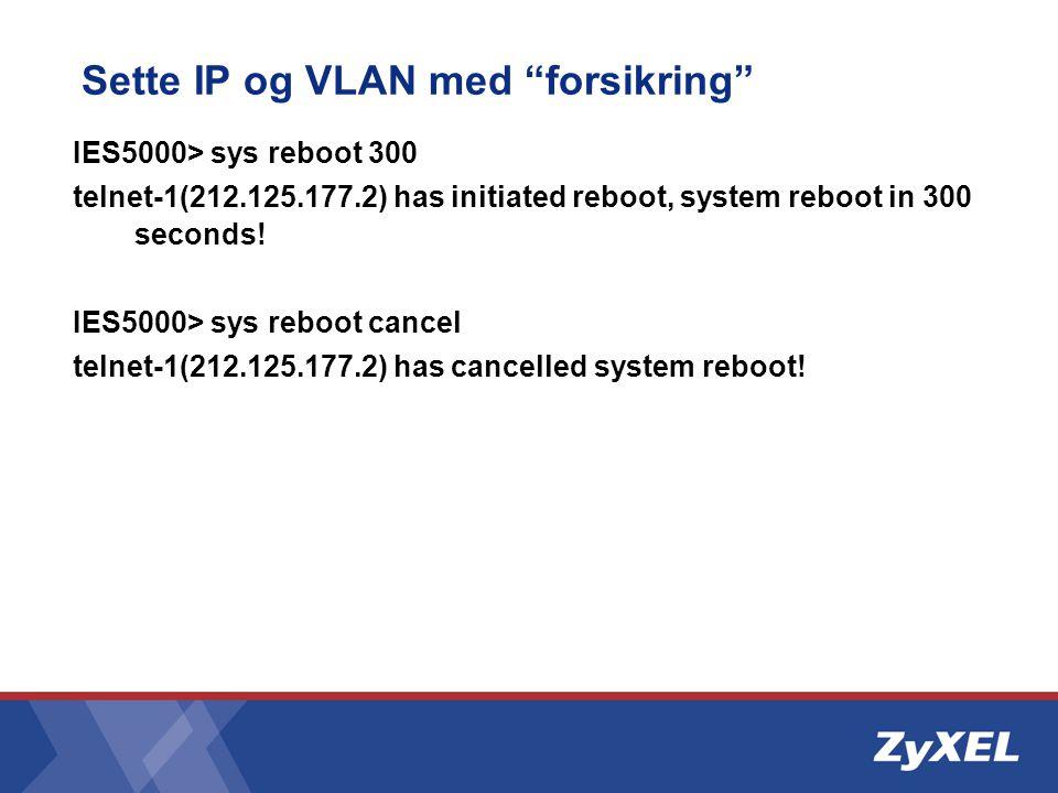 Sette IP og VLAN med forsikring
