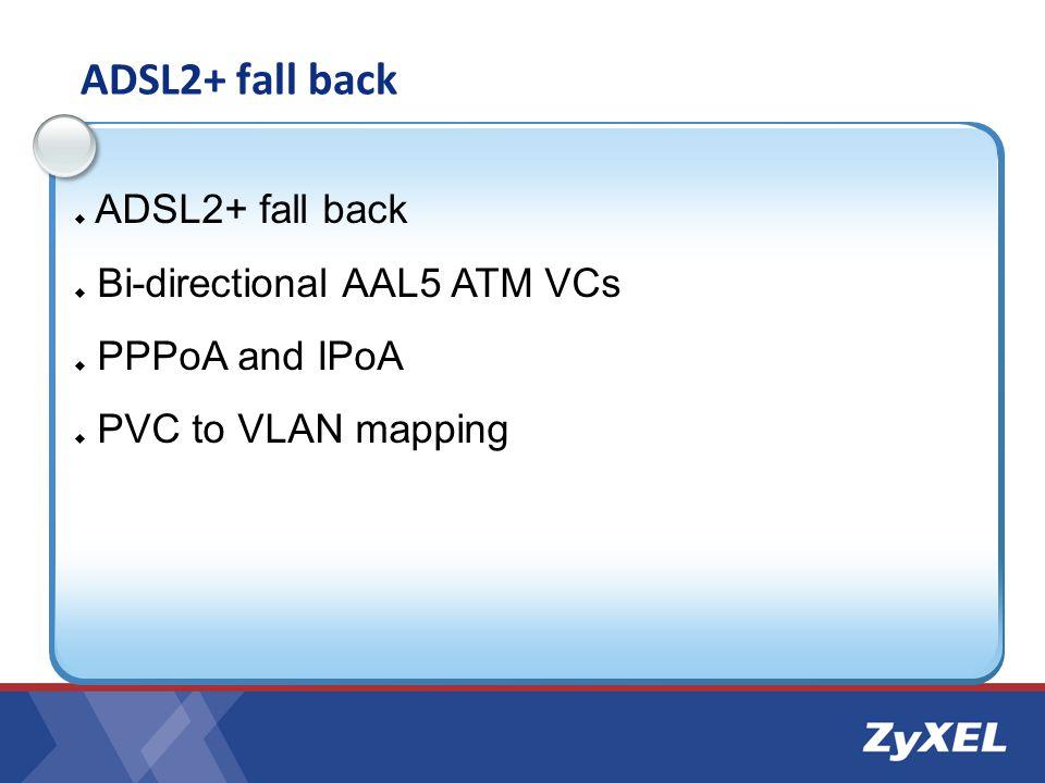 ADSL2+ fall back ADSL2+ fall back Bi-directional AAL5 ATM VCs