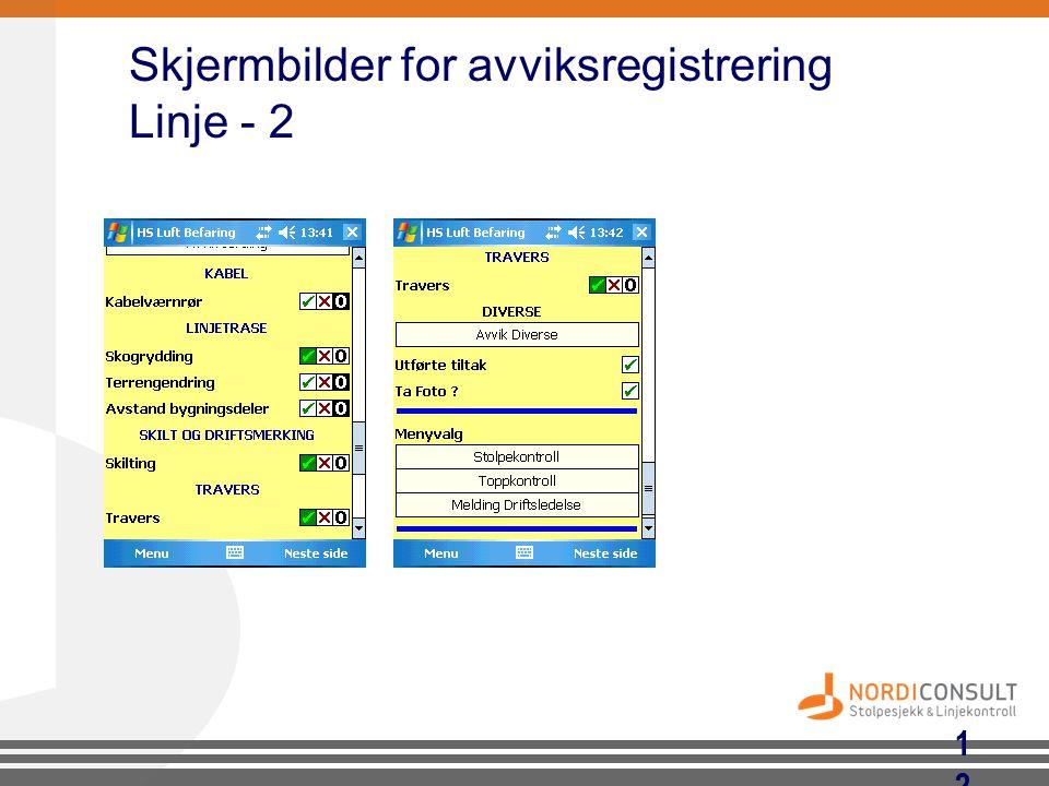 Skjermbilder for avviksregistrering Linje - 2