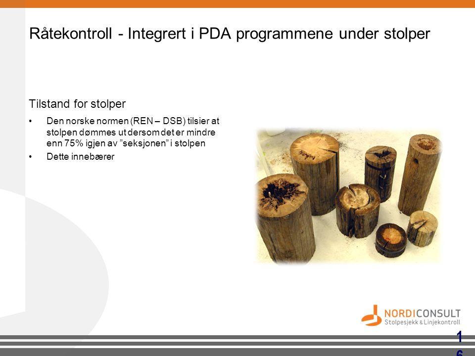 Råtekontroll - Integrert i PDA programmene under stolper