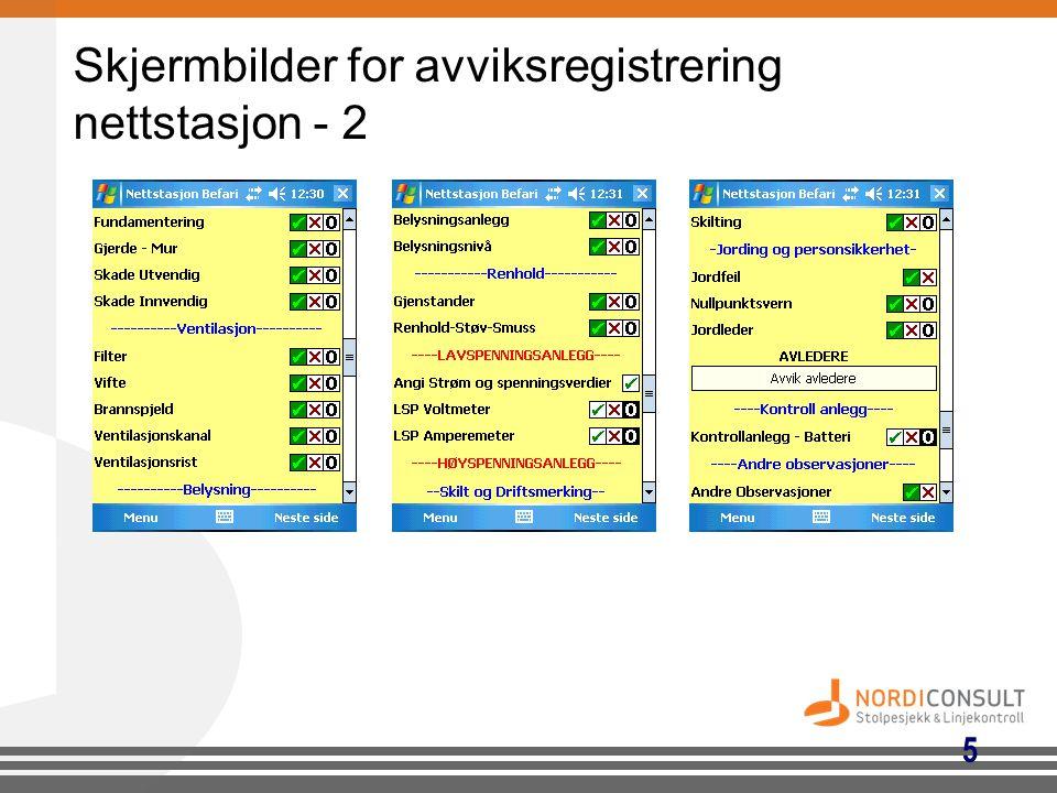 Skjermbilder for avviksregistrering nettstasjon - 2