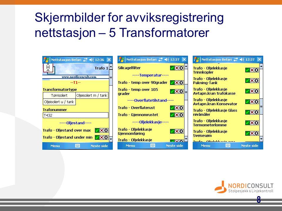 Skjermbilder for avviksregistrering nettstasjon – 5 Transformatorer