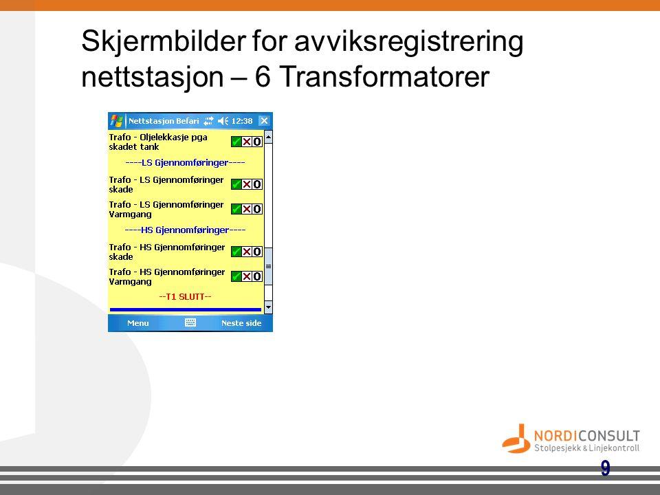 Skjermbilder for avviksregistrering nettstasjon – 6 Transformatorer