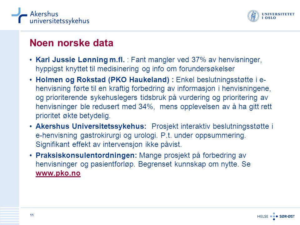 Noen norske data Kari Jussie Lønning m.fl. : Fant mangler ved 37% av henvisninger, hyppigst knyttet til medisinering og info om forundersøkelser.