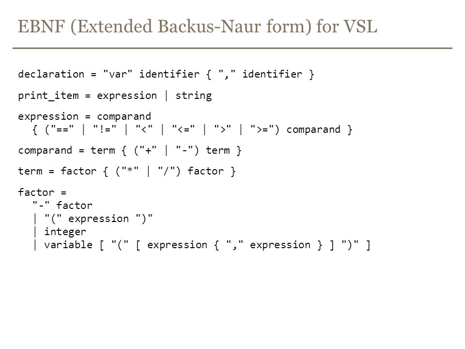 EBNF (Extended Backus-Naur form) for VSL
