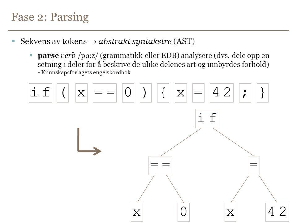 i f ( x = ) { 4 2 ; } i f = 4 2 x Fase 2: Parsing