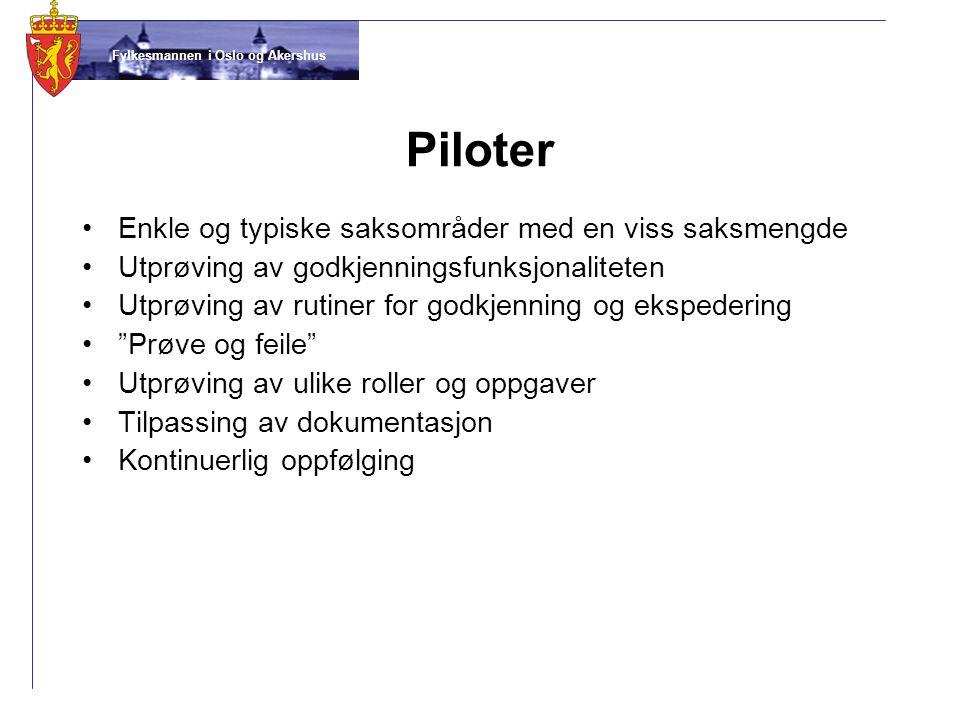 Piloter Enkle og typiske saksområder med en viss saksmengde