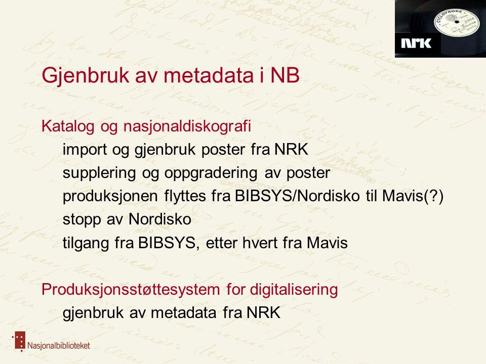 Gjenbruk av metadata i NB
