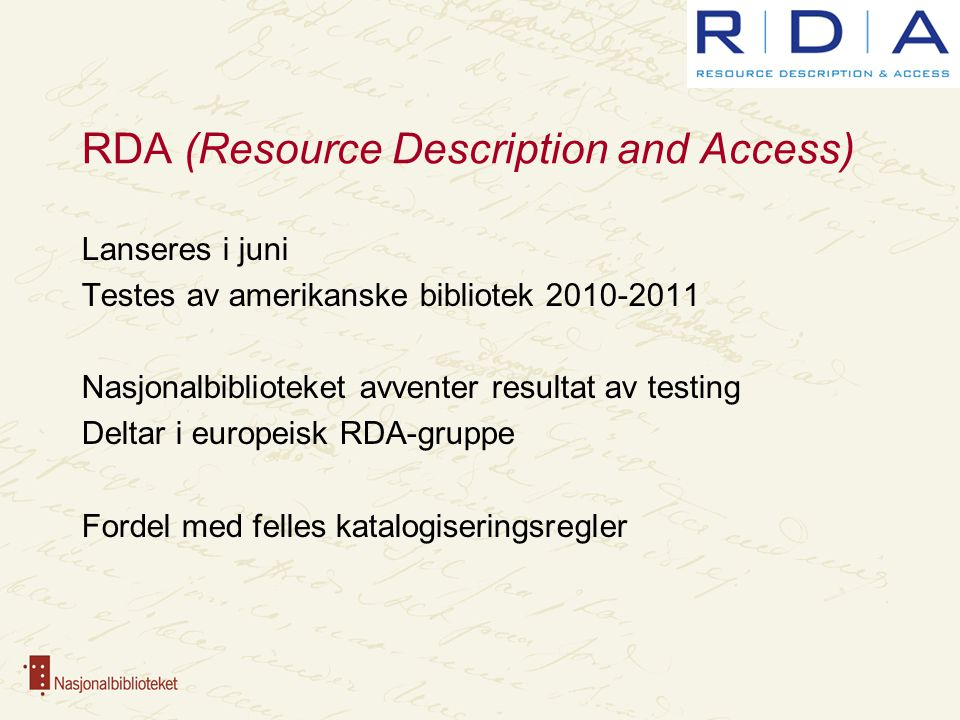 RDA (Resource Description and Access)