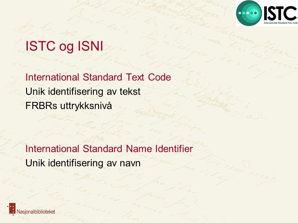 ISTC og ISNI