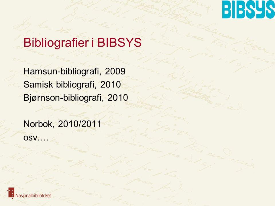 Bibliografier i BIBSYS