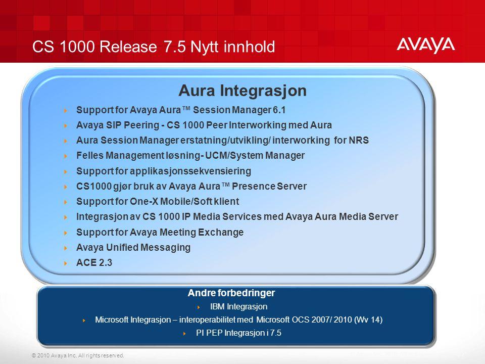 CS 1000 Release 7.5 Nytt innhold
