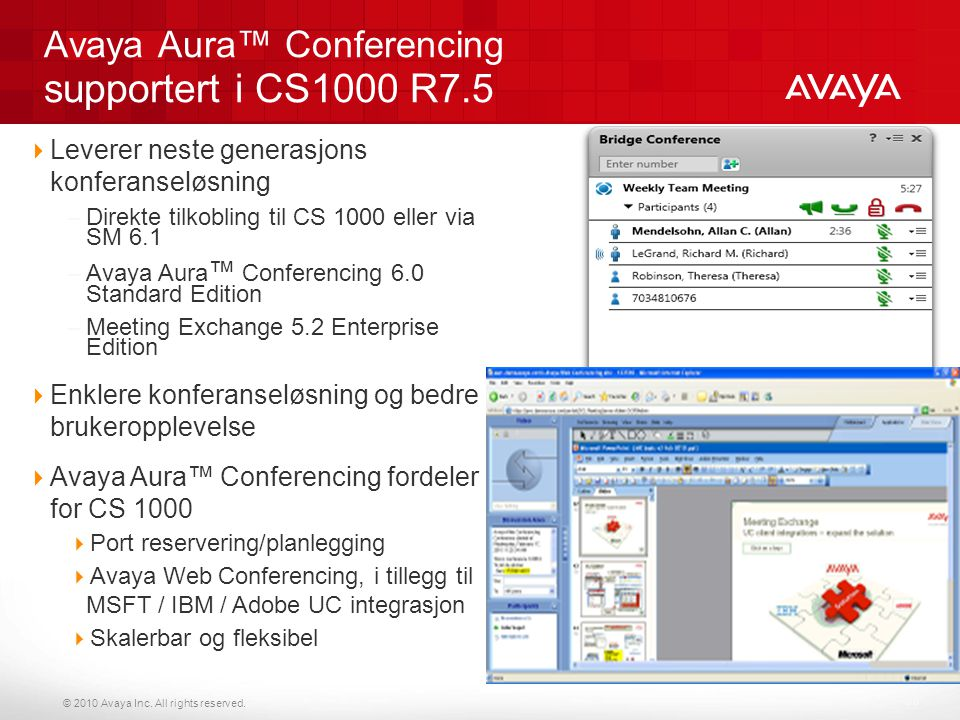Avaya Aura™ Conferencing supportert i CS1000 R7.5