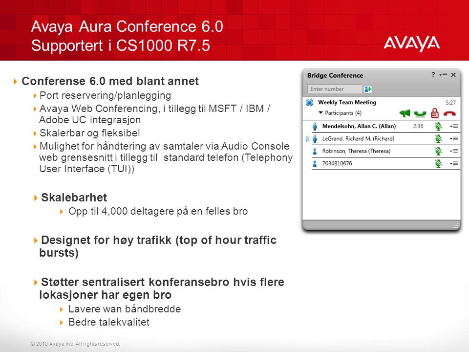 Avaya Aura Conference 6.0 Supportert i CS1000 R7.5