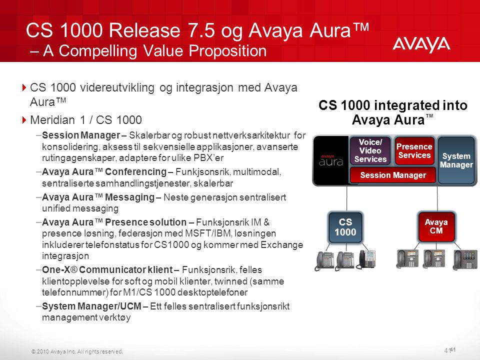 CS 1000 Release 7.5 og Avaya Aura™ – A Compelling Value Proposition