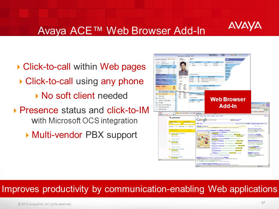 Avaya ACE™ Web Browser Add-In