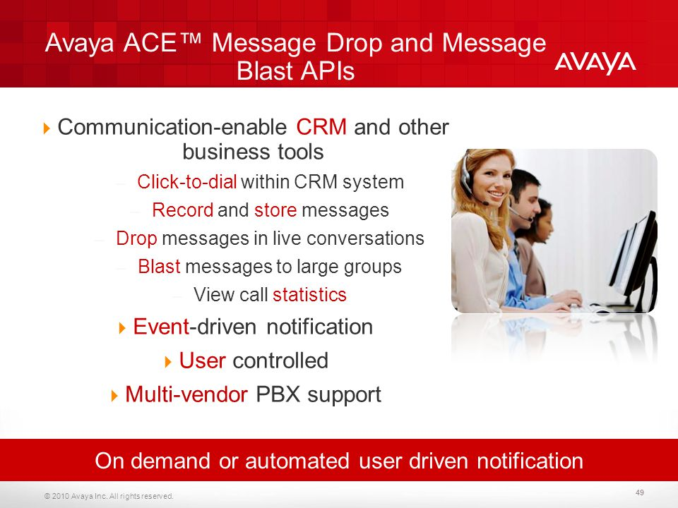 Avaya ACE™ Message Drop and Message Blast APIs