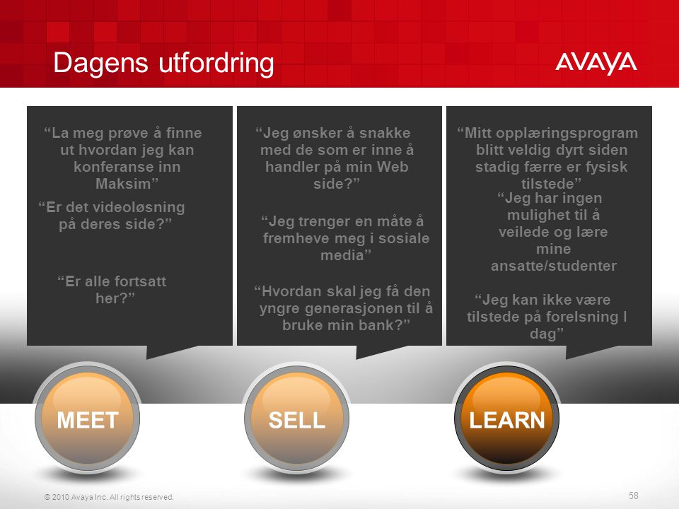 Dagens utfordring MEET SELL LEARN Audio conferencing Web collaboration
