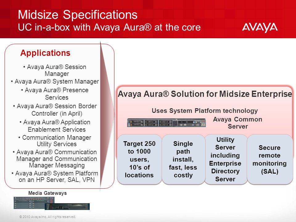 Midsize Specifications UC in-a-box with Avaya Aura® at the core
